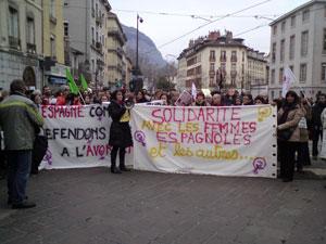 Manifestation pour le droit à l'avortement Grenoble 1er février 2014