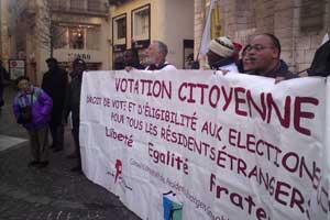 Manifestation pour le droit de vote et d'éligibilité des résidents étrangers