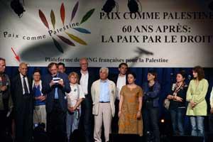 Stéphane Hessel à la tribune du meeting parisien pour les 60 ans d'occupation de la Palestine